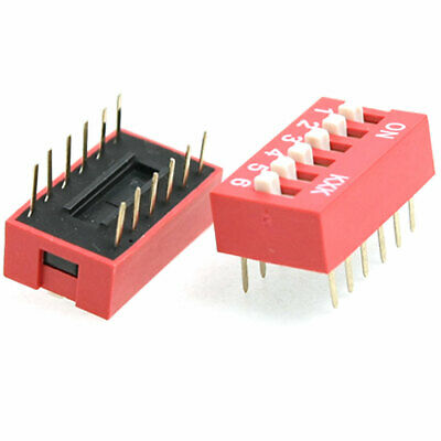 20 Pcs 2.54mm Pitch 6 Position Piano Type DIP Switch Red