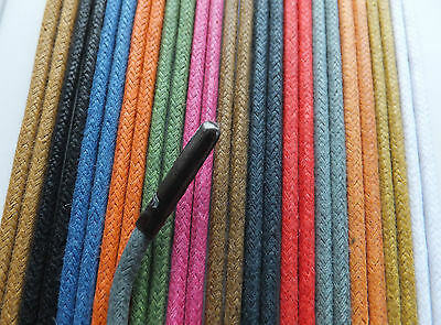 3mm Round - METAL TIPPED Waxed Cotton Shoelaces - ANY LENGTH - boot shoe lace