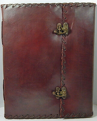 Handmade 8x10 Tri-fold Leather Journal with Lace Edging Sketchbook & 2 Latches