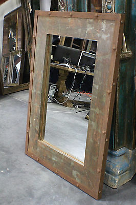 """48"""" T Mirror Wood Iron Frame Distressed Green Rustic SLC UT Furniture Sale Event"""