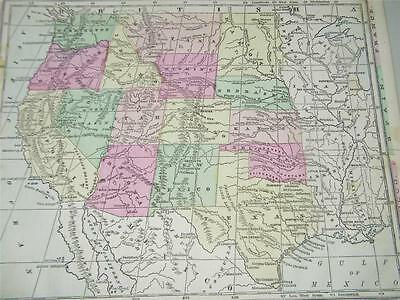 Vintage Antique Midwest Southwest States United Map 1866 Monteiths 12813