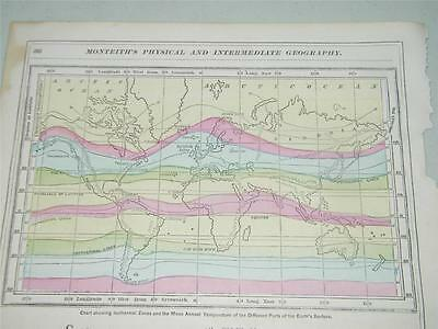 Vintage Antique Isothermal Lines Map 1866 Monteiths 12823 Color