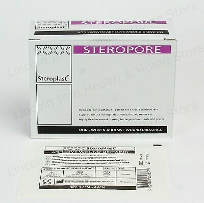 Steropore Adhesive Wound Dressing Large First Aid Sterile Pasters 7 x 6 cm Qty 5