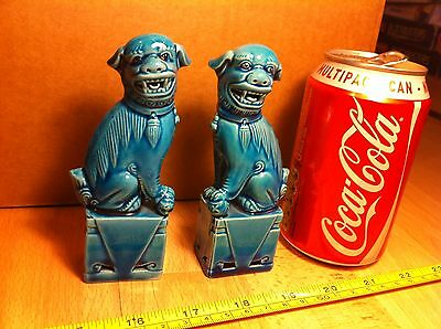 Chinese Vintage Pair of Turquoise Blue Teal Foo Dogs Dogs of Foe Porcelain