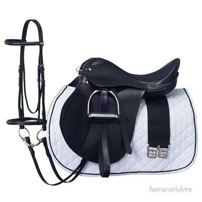 14 Inch All Purpose English Saddle Package - Black - All Leather - Regular Tree
