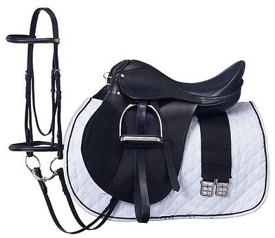 15 Inch All Purpose English Saddle Package - Black - All Leather - Regular Tree