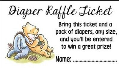 Winnie the Pooh Baby Shower Diaper Raffle Tickets Party Favors Cards