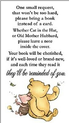 Winnie The Pooh Baby Shower Book Request Party Favors Cards
