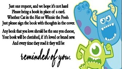 Monsters Inc Baby Shower Book Request Party Favors Cards