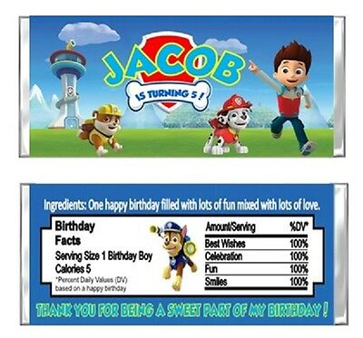 Paw Patrol Birthday Party Candy Wrappers Favors Personalized Custom
