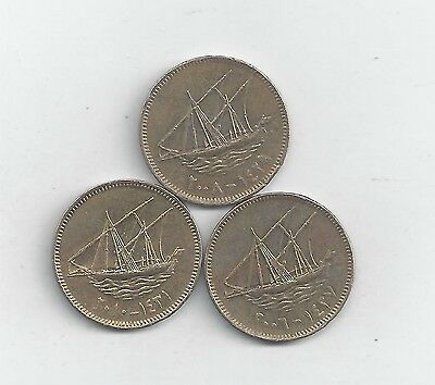 3 DIFFERENT 10 FILS COINS w/ SHIPS from KUWAIT (2006, 2008 & 2010)