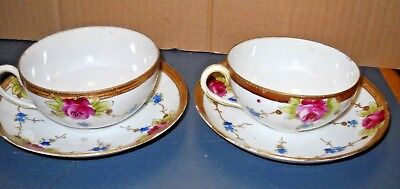 Vtg Pair Handpainted Nippon China Te-Oh Cup Saucer Sets Japan Pink Roses Flower