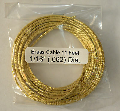 """Brass Cable for Tall Case, Large Clocks, .062"""" x 11'"""