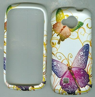 White Purple Butterfly RUBBERIZED PROTECTOR CASE FOR Samsung Reality SCH- U820