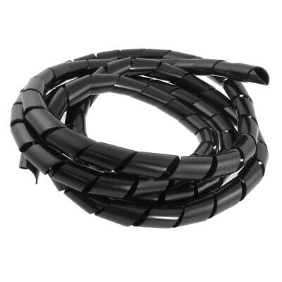 2.9M 9.5 Ft PE Polyethylene Spiral Cable Wire Wrap Tube Black 20mm