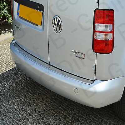 VW Volkswagen Caddy 03-14 Brushed Steel Rear Bumper Sill Scuff Protector Cover