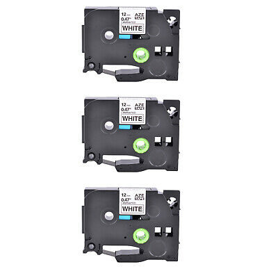 3PK Black on White 12mm Label Tape Compatible for Brother TZe 231 P-Touch PT18R