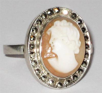 Stunning French 800 Silver Ladies Carved Cameo Marcasite Ring Size K Jewellery