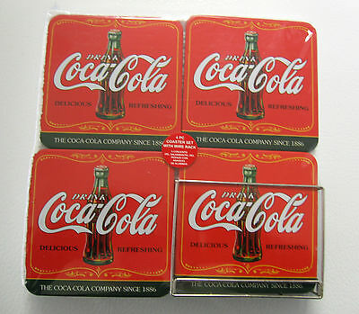 Set Of 4  Coca Cola Coke Coasters With Wire Rack Caddy New