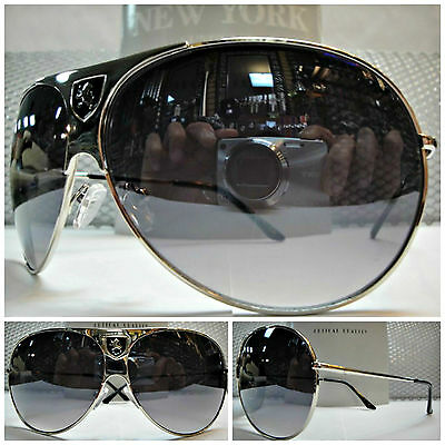 OVERSIZE OLD SCHOOL VINTAGE 70s RETRO Style SUNGLASSES SHADES Large Silver Frame