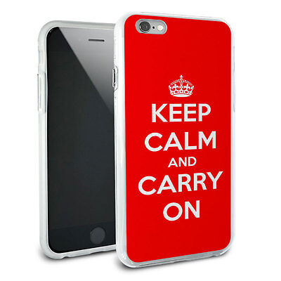 Keep Calm and Carry On Red Hybrid Rubber Bumper Case for Apple iPhone 6 Plus