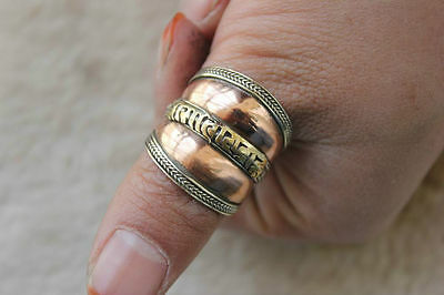 Large Adjustable Tibetan 3-color Copper Carved Mantra Om Mani Braided Thumb Ring