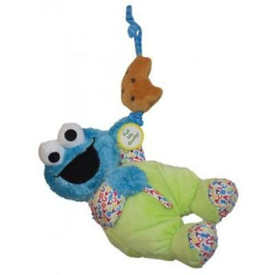 NEW Sesame St Cookie Monster Soft Musical Pull Toy with Attachable Tie