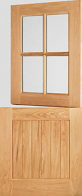 Oak Cottage Stable 4L External Exterior Door - Clear Double Glazed Glass - Wood