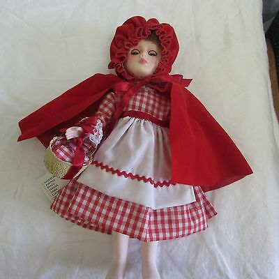 "vintage LITTLE RED RIDING HOOD Effanbee 10"" vinyl DOLL sleep eyes rooted hairTAG"