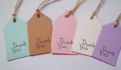 25 Vintage Style Handmade Tags 'Thank You'  5 Colours, Handstamped & Strung