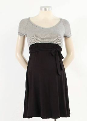 Japanese Weekend Maternity Nursing Colorblock Black Stripe Jersey Dress M 10 12