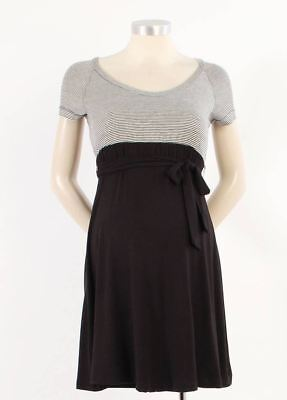 New Japanese Weekend Maternity Nursing Colorblock Black Thin Stripe Jersey Dress