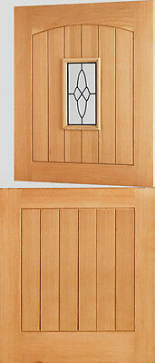 Oak Cottage Stable 1L External Exterior Double Glazed Door I.G Lead Glass - Wood