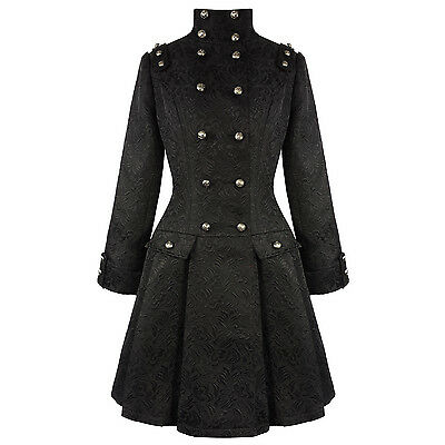 Hearts & Roses London Black Gothic Military Steampunk Frock Coat UK