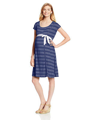 New Japanese Weekend Maternity Nursing Casual Navy Nautical Stripe Jersey Dress
