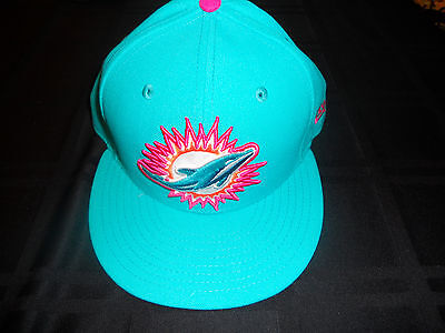 Miami Dolphins Team Issued Aqua New Era Fitted Hat Breast Cancer Brand New 7 3/8