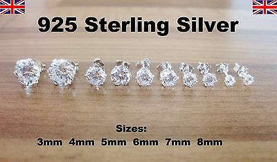 925 Sterling Silver - Clear Round CZ Cubic Zirconia Stud Earrings - 5 Sizes
