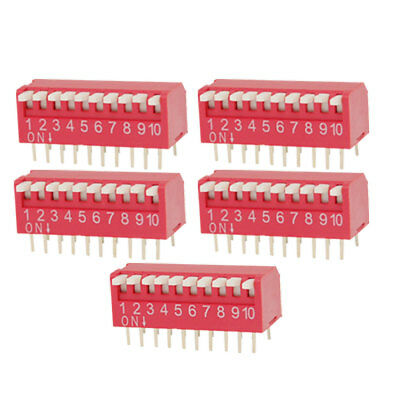 5 Pcs 2.54mm Pitch 10 Position Slide Type DIP Switch Red Kyjzb