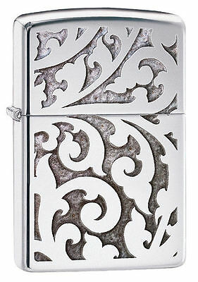 Zippo Windproof High Polished Chrome Lighter With Filigree, 28530, New In Box