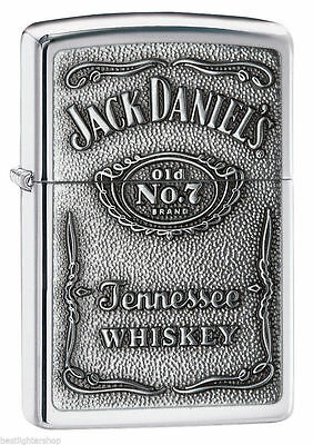 Zippo Polished Chrome Lighter With Pewter Jack Daniels Emblem, 250JD.427, NIB