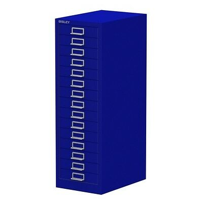 BLUE 15 MULTI DRAWER 'BISLEY' FILING CABINET - BRAND NEW 860H x 279W x 380D mm