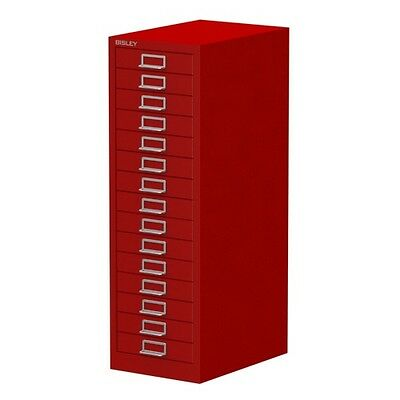 RED 15 MULTI DRAWER 'BISLEY' FILING CABINET - BRAND NEW 860H x 279W x 380D mm