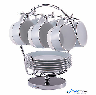 6 Cup Tree Stand Holder Hanging Mug Kitchen Storage Rack Chrome Babavoom H5