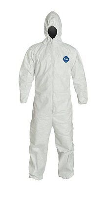 DuPont Tyvek TY127S Disposable Coverall Bunny Suit Hood, Elastic Wrists & Ankles