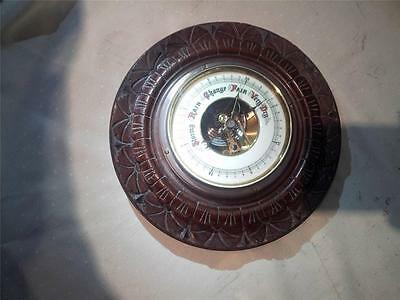 VERY FINE VINTAGE  LUFFT BAROMETER WITH ENAMEL DIAL IN CARVED WOOD MOUNT