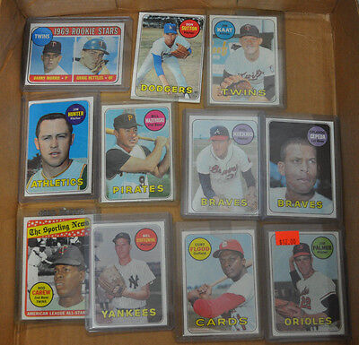 1969 TOPPS BASEBALL LOT OF 38 CARDS WITH STARS VG-NM LIST INSIDE NO DUPLICATES