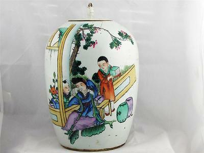 Beautiful Rare Antique Chinese Large Porcelain Temple Jar, Hand Painted
