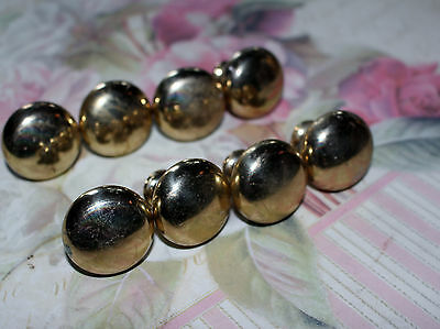 Set of 8 Vintage Solid Brass Drawer Pulls Knobs cupboard handles Art Deco