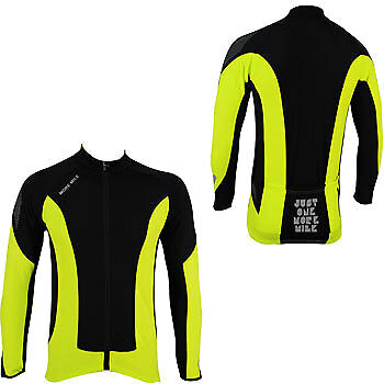 More Mile Thermal Long Sleeve Junior Cycle Jersey - Yellow