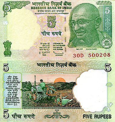 INDIA 5 Rupees Banknote World Paper Money UNC Currency BILL p94A Note Gandhi L